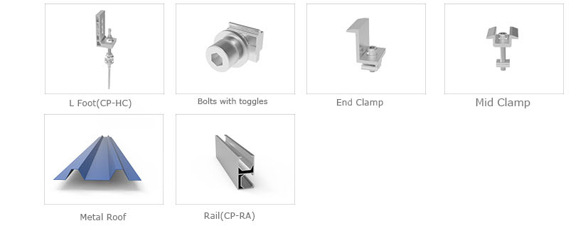 Roof mounting with Bolts,Washers,EPDM Washers,Self-tapping Screws